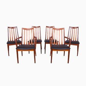 Teak & Leder Esszimmerstühle von Leslie Dandy für G-Plan, 1960er, 6er Set