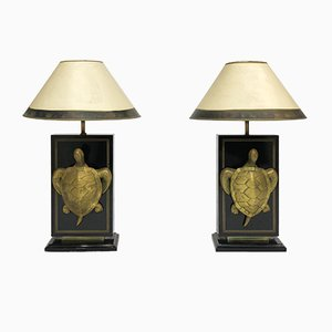 Lámparas de mesa Hollywood Regency en forma de tortuga Macouba de latón, años 70. Juego de 2