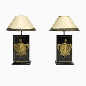 Lampes de Bureau Tortue Macouba Hollywood Regency en Laiton, France, 1970s, Set de 2