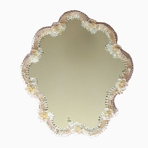 Large Vintage Italian Murano Glass Bottondoro Wall Mirror by Murano Vetri, 1960s