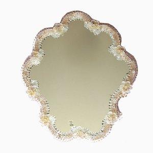 Specchio da parete Bottondoro vintage in vetro di Murano, Italia, anni '60