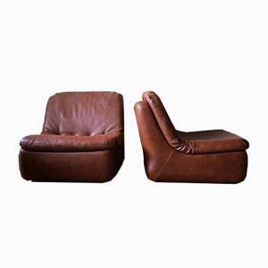 Leather Modular Lounge Chairs, 1970s, Set of 2