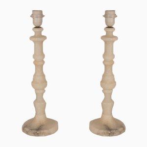 Lámparas españolas columna de alabastro retorcido, años 40. Juego de 2