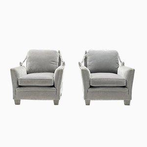 Neoclassical Gray Velvet Armchair by Maison Jansen, 1970s, Set of 2