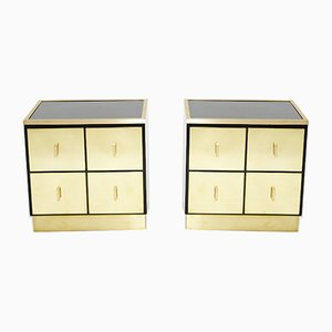 Brass Lacquered Bedside Tables by Luciano Frigerio, Italy 1970s, Set of 2