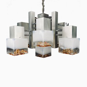 Italian Gaetano Sciolari Style Murano Glass & Chromed Metal Cube Chandelier from Mazzega, 1960s