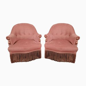 Napoleon III Velvet Tub Chairs, Set of 2