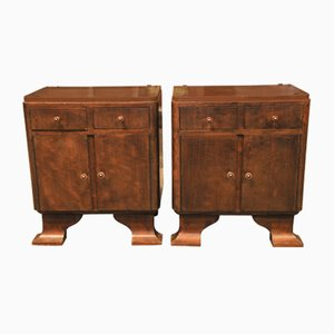 Art Deco Teak His-and-Hers Bedside Cabinets with Two Drawers, Doors & Bracket Feet, 1920s, Set of 2
