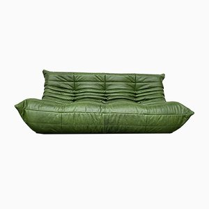 Vintage Forest Green Leather Togo Sofa by Michel Ducaroy for Ligne Roset