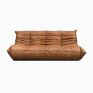 Vintage French Dark Cognac Leather Sofa by Michel Ducaroy for Ligne Roset