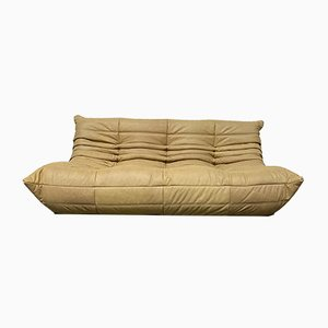 Vintage French Camel Leather Togo Sofa by Michel Ducaroy for Ligne Roset