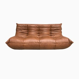 Vintage Dark Cognac Leather Sofa by Michel Ducaroy for Ligne Roset
