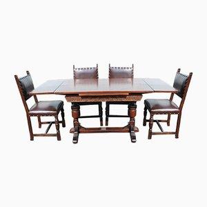 Mesa de sorteo de roble con seis sillas de comedor de roble, años 40. Juego de 7