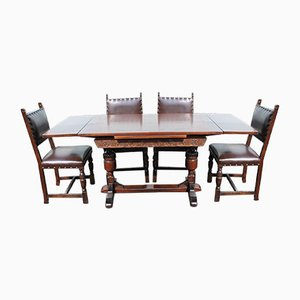Oak Draw Leaf Table with 6 Oak Dining Chairs, 1940s, Set of 7