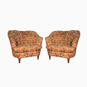 Italian Floral Armchairs, 1950, Set of 2