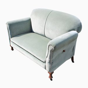 Mahogany Drop-End 2-Seater Sofa with Blue Upholstery, 1940s