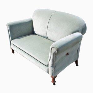 Sofá de dos plazas de caoba con tapicería azul, años 40