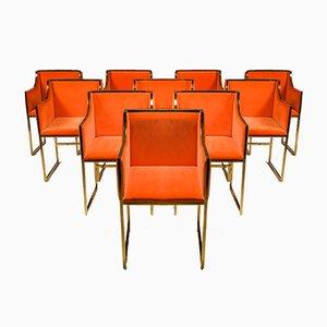 Messing & Orangenfarbener Samt Esszimmerstuhl von Maison Jansen, 1980er