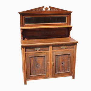 Carved Walnut 2-Door Chiffonier Cabinet with Back, 1940s