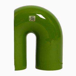 Lámpara de mesa italiana era espacial de cerámica verde de Sele-Arte, años 60
