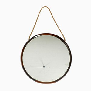 Large Italian Teak Wall Mirror with Thick Natural Fiber Rope, 1960s