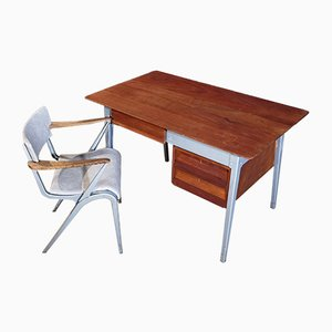 Mid-Century 6212 Master Schreibtisch & Armlehnstuhl von James Leonard für Esavian ESA, 2er Set