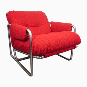 Metal Tube Armchair with Bouclé ​​red Design, 1970s