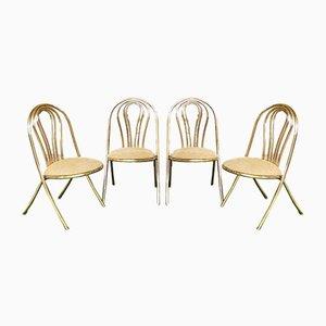 Vintage Gold Metal Seats, 1970s, Set of 4