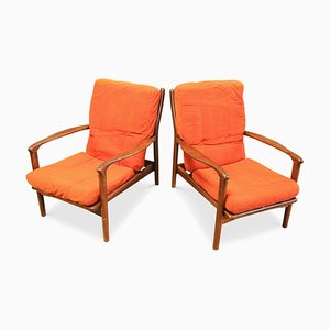 Danish Afromosia & Teak Open-Frame Easy Chairs with Orange Upholstery, 1960s
