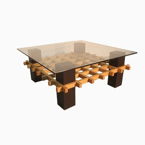 Minimalist Italian Wood and Glass Coffee Table, 1970s