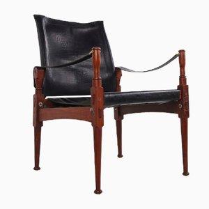 Chaise Safari Noire Vintage de Khyber Wood