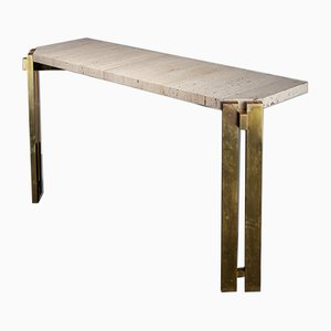 Handcrafted Italian White Travertine and Brass Console, 1970s