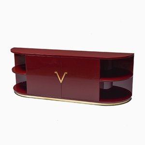 Vintage Red Lacquered Sideboard with Brass Details
