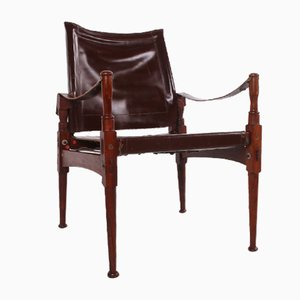 Vintage Brown Safari Chair from Khyber Wood