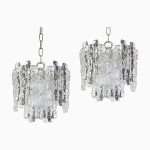 Austrian Frosted Murano Glass Pendant Lamps from Kalmar Franken KG, 1960s, Set of 2