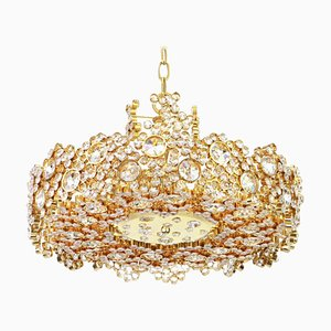 German Gilt Brass & Crystal Glass Encrusted Chandelier from Palwa, 1970s