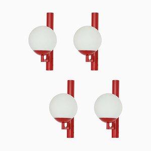 Deutsche Rote Opalglas Wandlampen, 1960er, 2er Set