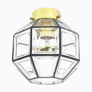 German Iron & Clear Glass Flush Mount Ceiling Lamp from Limburg, 1960s