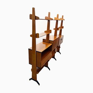 Teak Double-Sided Freestanding Bookshelf from Vittorio Dassi, 1960s