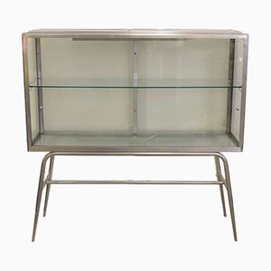 Industrial Aluminum Showcase Cabinet with Lighting, 1960s