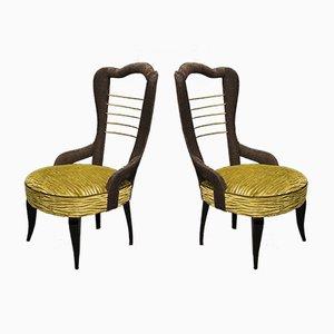 Italian Green Velvet and Brass Chairs, 1950s, Set of 2