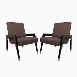 Italian Wood, Fabric and Brass Armchairs, 1950s, Set of 2