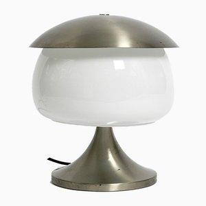 Grande Lampe de Bureau Space Age Vintage en Aluminium Massif & Verre, Italie