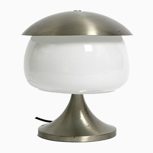 Large Vintage Italian Space Age Solid Aluminum & Glass Table Lamp
