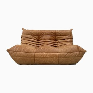 Vintage Cognac Leather 2-Seater Sofa by Michel Ducaroy for Ligne Roset