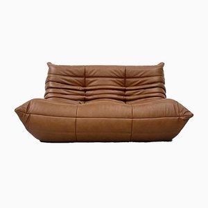Französisches Vintage Cognacfarbenes 2-Sitzer Sofa aus Leder von Michel Ducaroy für Ligne Roset