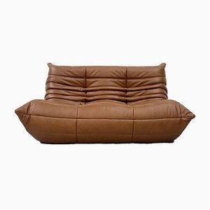 Vintage French Dark Cognac Leather 2-Seater Sofa by Michel Ducaroy for Ligne Roset
