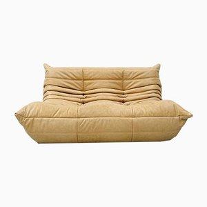 Vintage Kamel Leder 2-Sitzer Sofa von Michel Ducaroy für Ligne Roset