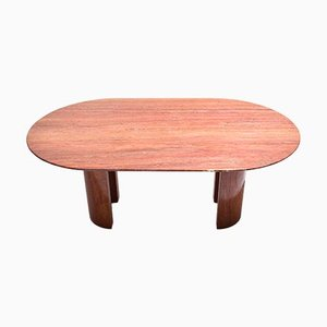 Italian Red Travertine Oval Dining Table, 1970s