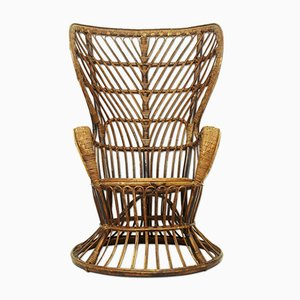 Italian Rattan Wicker Lounge Chair, 1950s